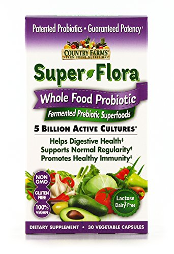 Country Farms Super Flora Wholefood Probiotic, with Prebiotic, Lactose and Dairy Free, 30 Servings