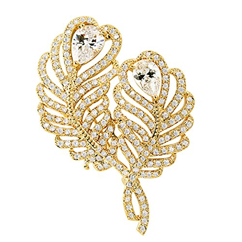 SELOVO Gold Tone 2 Leaf Feather White Cubic Zirconia Stone Brooch Pin Jewelry Gift