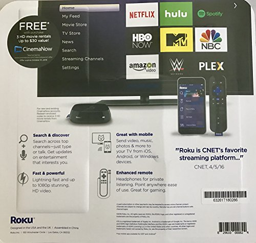 Roku 3 Streaming Media Player  With Voice Search  Bundled wi