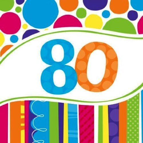80th Birthday Napkins (Creative Converting Bright and Bold 80th Birthday Lunch Napkins (54)