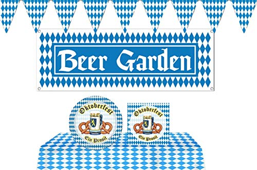 Bavarian Beer Garden Oktoberfest Party Supplies: Bundle Includes Paper Plates and Napkins for 16 Guests Plus Tablecover, Beer Garden Banner, and Flag Pennant Banner