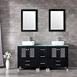 BATHJOY 60'' Black Double Wood Bathroom Vanity Cabinet and White Square Ceramic Vessel Sink w/ Mirror Combo Faucet