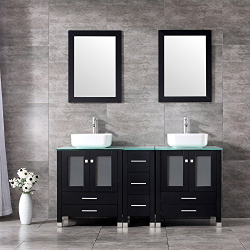 BATHJOY 60'' Black Double Wood Bathroom Vanity Cabinet and White Square Ceramic Vessel Sink w/ Mirror Combo Faucet by BATHJOY