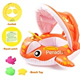 Peradix Baby Spring Pool Float with Canopy Sunshade, Whale Theme Infants Water Toys Inflatable Swimming Ring Pool Water Boat with Gift Sunhat and Sand Play Molds Toys for Toddlers Summer Activity