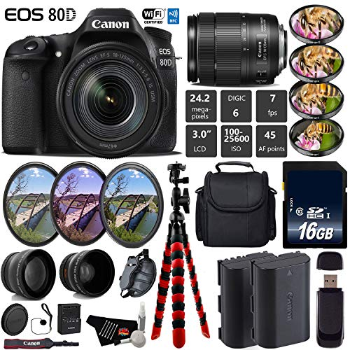 Canon EOS 80D DSLR Camera with 18-135mm is STM Lens + UV FLD CPL Filter Kit + 4 PC Macro Kit + Wide Angle & Telephoto Lens + Camera Case + Tripod + Card Reader - International Version -  6Ave