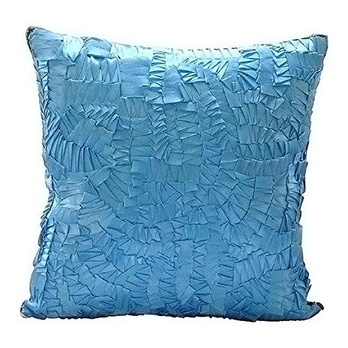 The HomeCentric Decorative Aqua Blue Cushion Coverfor Sofa 16x16 inch, Silk Throw Pillow Covers, Solid Color, Ribbon Embroidery, Modern Couch ThrowPillow Covers - Mist