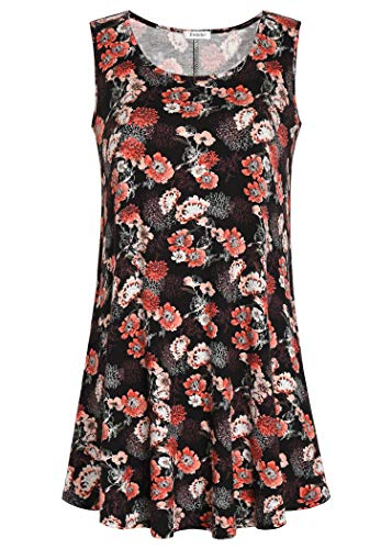 Esenchel Women's Flowy Sleeveless Tunic Top for Leggings M Coral Rose ()