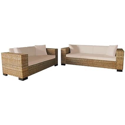 WEILANDEAL Set de Sofas de 2 Plazas y de 3 Plazas Ratan ...