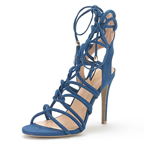 DREAM PAIRS STRAWS Women's New Strappy Gladiator High Heel Sandals Lace Up Open Toe Lady Ankle Shoes ROYAL BLUE SIZE 6.5