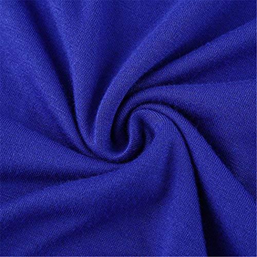 irrgulier t Blouse Ronde Femme Ourlet Courte Tee lache Bleu dcontract Shirt Manche mioim col zU4wqwf