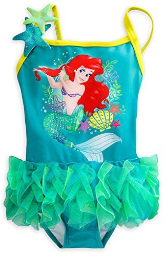 Disney Store Little Girls' Princess Ariel Sequin Accents Deluxe Swimsuit (Sequin Accent)