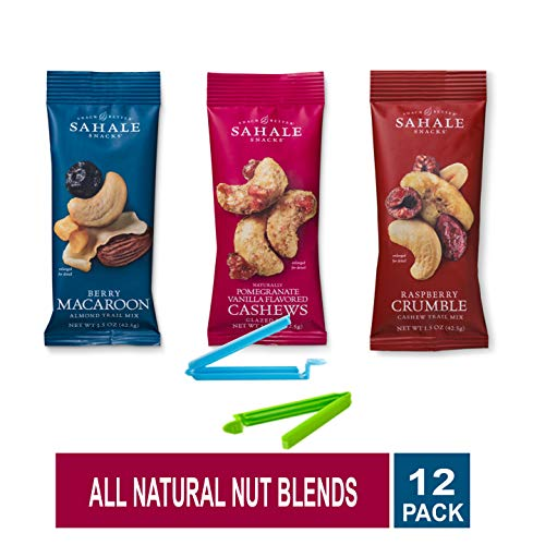 Sahale Snacks All Natural Nut Blends Grab And Go Variety of 3 Flavors (Pomegranate Vanilla,Raspberry Crumble, Berry Macaroon) Pack of 12 with Free Snack Clips