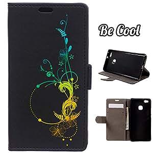 BeCool® - Funda carcasa tipo [ Libro ] Huawei P9 Lite [ Función Soporte ] Flores hawaianas