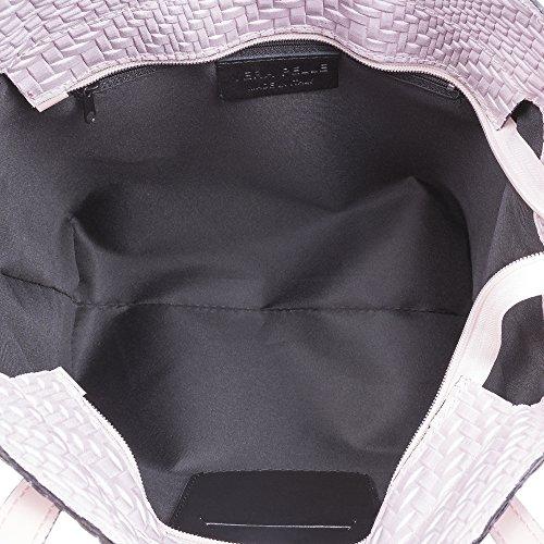 41x29x17 hombro cuero para Color cm bolso auténtica Asa ARTEGIANI TOTE mujer NEGRO MADE IN acabado trenzado Bolso de VERA piel PELLE ITALIANA ITALY mujer Bolso FIRENZE Rosa genuino piel SATqa