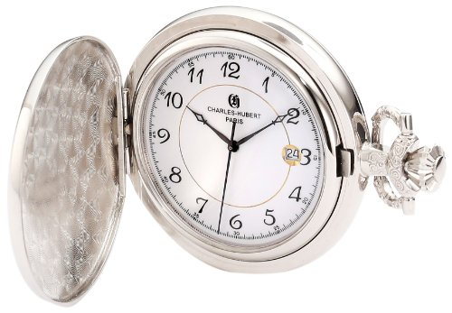 Charles-Hubert, Paris 3927 Classic Collection Chrome Finish Brass Quartz Pocket Watch Brass Quartz Pocket Watch