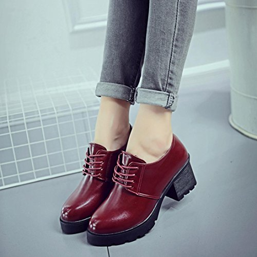 LuckyBB Women Boots, Spring Casual Boots Ladies Fashion Square Heel Outdoor Lace-up Ankle Boots Wine