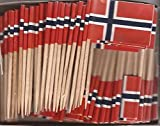 25 Box Wholesale Lot of Norway Toothpick Flags, 2500 Small Mini Norwegian Flag Cupcake Toothpicks or Cocktail Picks
