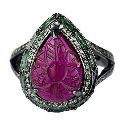 0.48 cts Diamond Ring 925 Sterling Silver Red Glass /& emerald oxidized Ring Size