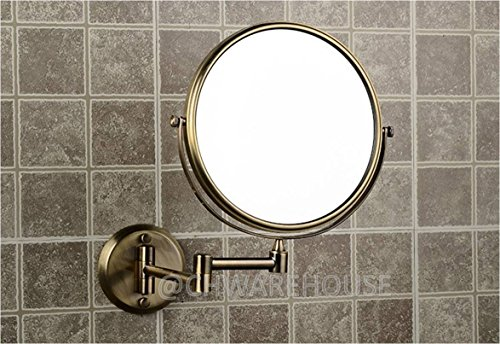 Brass 8 Magnifying Mirror For Bath Wall Mounted Swing