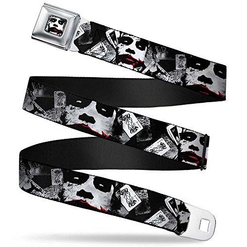 The Dark Knight Joker Face CLOSE-UP Full Color White/Black/Red Seatbelt Belt - The Dark Knight Joker Face CLOSE-UP/Scattered Joker Cards White/Black/Red X-LARGE Webbing