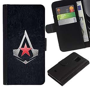 JackGot ( Asesinos Estrella ) Samsung Galaxy S5 Mini (Not S5), SM-G800 la tarjeta de Crédito Slots PU Funda de cuero Monedero caso cubierta de piel