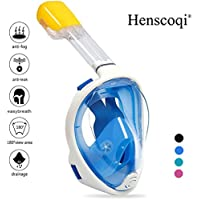 Henscoqi 180° Full Face Snorkel Mask,Anti-Fog and Anti-Leak Design/Adjustable Head Straps/Free Breathing Tubeless Design/Prevents Gag Reflex,See More with Larger Viewing Area
