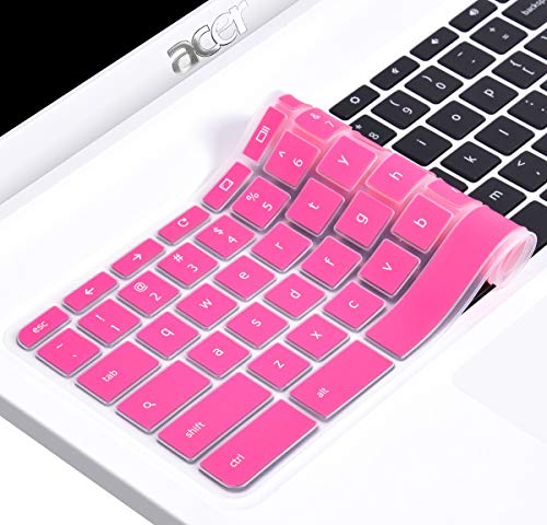 CaseBuy Ultra Thin Silicone Keyboard Protector Skin Cover for Acer Chromebook 14 CB3-431 CP5-471 14-inch Chromebook US Version(Hot Pink)