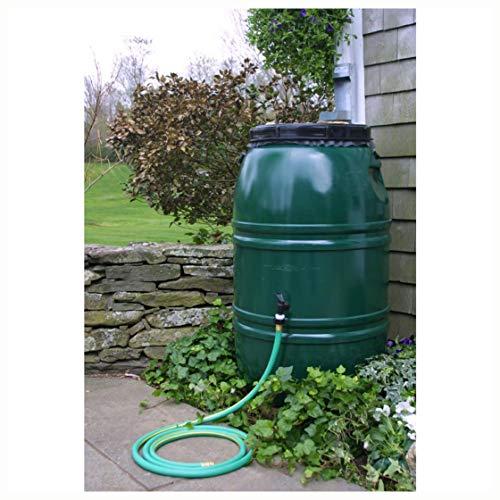 Rain Barrels, 60-Gallon High Density Polyethylene Plastic Rain Barrel in Forest Green