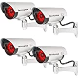 WALI Bullet Dummy Fake Surveillance Security CCTV Dome Camera Indoor Outdoor with 30 Illuminating LED Light and Warning Security Alert Sticker Decals (S30-4), 4 Packs, Silver