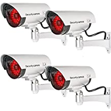 WALI Bullet Dummy Fake Surveillance Security CCTV Dome Camera Indoor Outdoor with 30 Illuminating LED Light + Warning Security Alert Sticker Decals WL-S30-4(Silver), 4 Pack