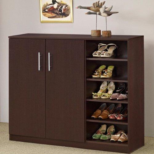 Lenox Contemporary Style Walnut Finish Shoe Cabinet