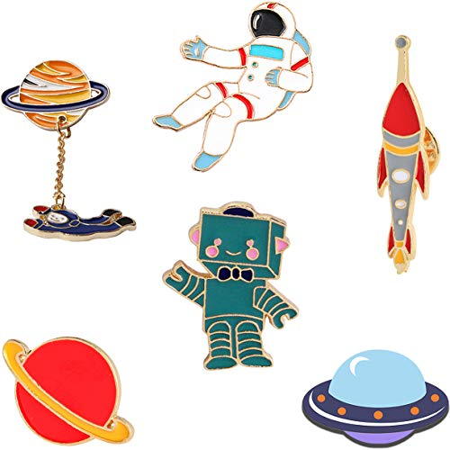 (KimYoung Lemoo Cute Enamel Lapel Pin Sets Carton Animal Brooch Pin (Planet Spaceman and Robot Set of 6))