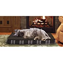 1 Piece Java Brown Orthopedic Plaid Jumbo 44 Inches Comfort Pet Bed, Dark Brown Color Ortho Dog Mattress Bedding Terry Fleece Alleviate Joints Pain Zippered Removable Cover, Memory Foam Faux Sheepskin
