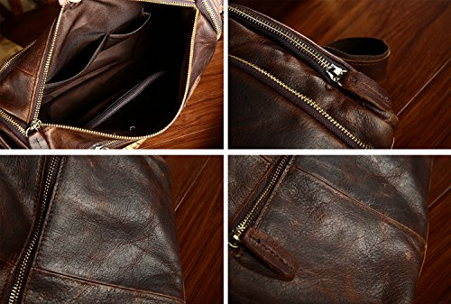 For Men Leather Chocolate Messenger Bag Zipper Shoulder Color Leisure Retro Genuine PBqOnx