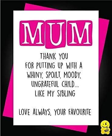 Mother/'s Day Birthday Card  Funny Cheeky Rude Mum Mummy M13 Wiping My bum