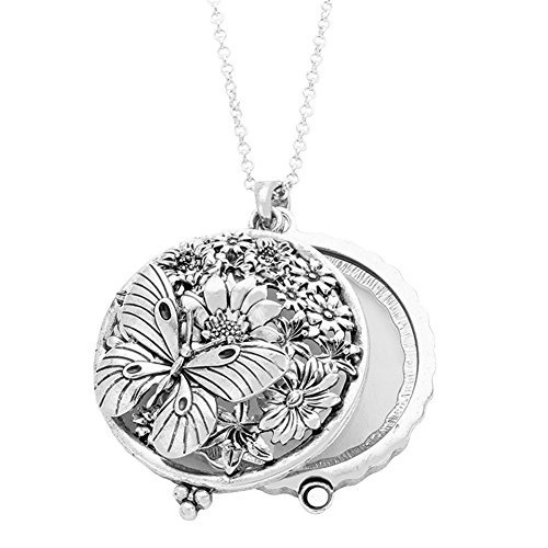 Redwood Open Work Silvertone Butterfly and Flowers Magnifying Glass Pendant Necklace, Lightly Antiqued 30