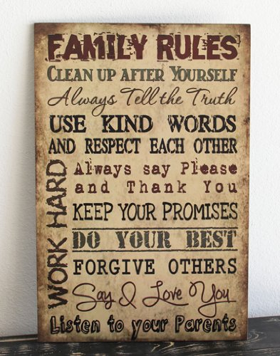 Primitive Wall Decor Wood Sign, Family Rules, Tan