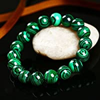 Phetmanee Shop Charming Natural 10mm Green Malachite Round Gemstone Beads Stretch Bracelet