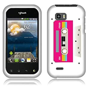 Fincibo (TM) LG myTouch Q C800 Protector Cover Case Snap On Hard Plastic - Pink Cassette Tape, Front And Back