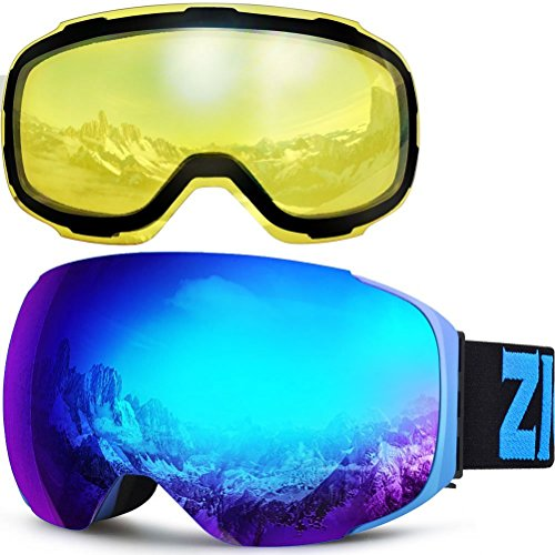 Zionor XA Ski Snowboard Snow Goggles for Men Women Anti-fog UV Protection Spherical Dual Lens (Dual Lens Snow)
