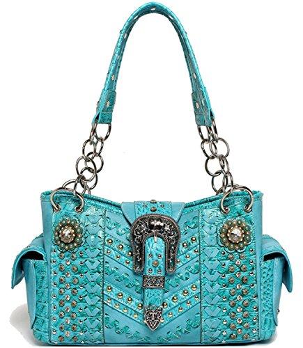 Blancho Bedding Womens [Cowgirl Trendy] PU Leather Fashion Bag Elegant Purse BAG-TURQ tc2waufO