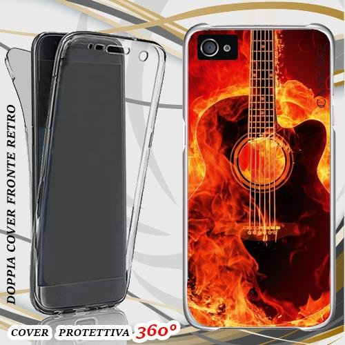 CUSTODIA COVER CASE GUITAR FIRE PER IPHONE 4 FRONT BACK