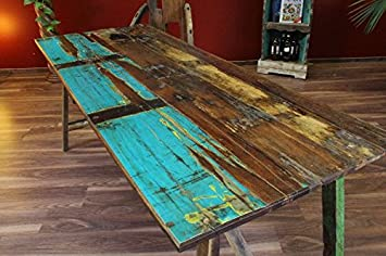 Table de salle à manger bureau teck en bois massif multicolore