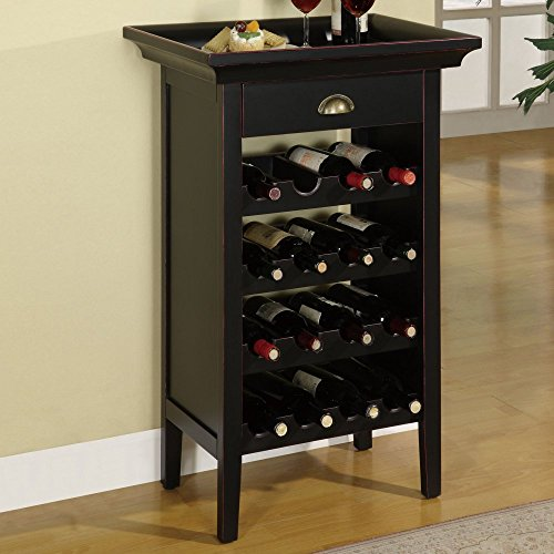 Powell 502-426 Black with Merlot Rub Through Wine Cabinet