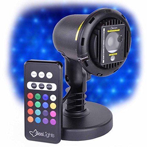 BlissLights 16 LED Accent Colors Commercial Grade Indoor or Outdoor Laser Star Spotlight with Remote, Blue