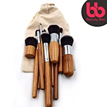 Professional Kabuki Makeup Brushes Set – 11 Pc Wooden Handle Cosmetic Foundation Make up kit Beauty Blending for Powder and Cream – Bronzer Concealer Contour Brush Travel Case - Beauty Bon