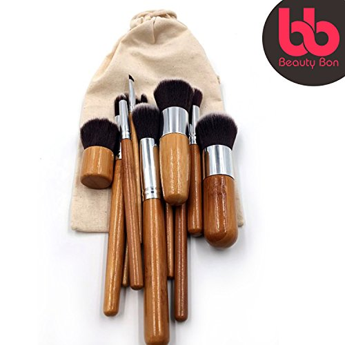 Professional Makeup Brush Set, 11-Pc Set with Comfortable Wood Handles Great ...