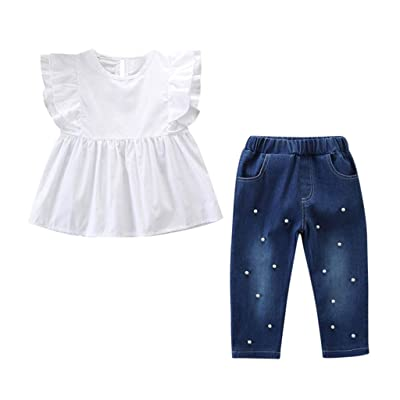 2020 New Child Kids Baby Girls Outfits Solid T-Shirt Tops+Pearl Denim Pants Jeans Set: Clothing