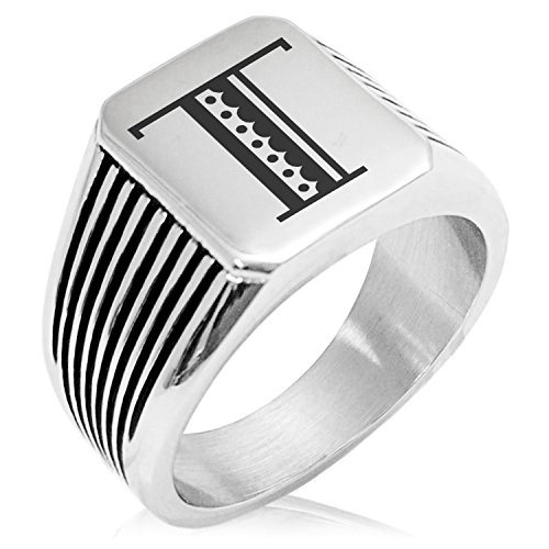 Initial Pattern - Two-Tone Stainless Steel Letter T Alphabet Initial Metro Retro Monogram Engraved Needle Stripe Pattern Biker Style Polished Ring, Size 10