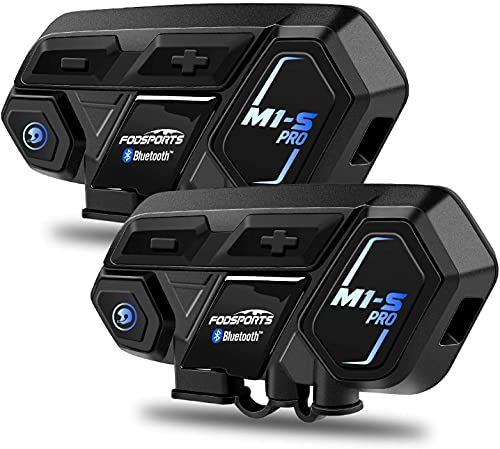 Fodsports M1-S Pro Motorrad Helm Headset, 8 Fahrer Bluetooth Intercom, 2000M Motorradhelm Sprechanlage Bluetooth…